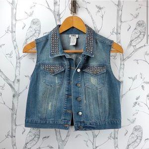Vintage Y2K distressed studded denim vest M